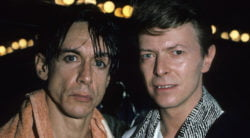 NEW YORK - JANUARY 01:  UNITED STATES:  Iggy Pop and David Bowie pose backstage after an 1986 Iggy Pop concert at The Ritz in New York City.  (Photo by L. Busacca/Larry Busacca/Wireimage)